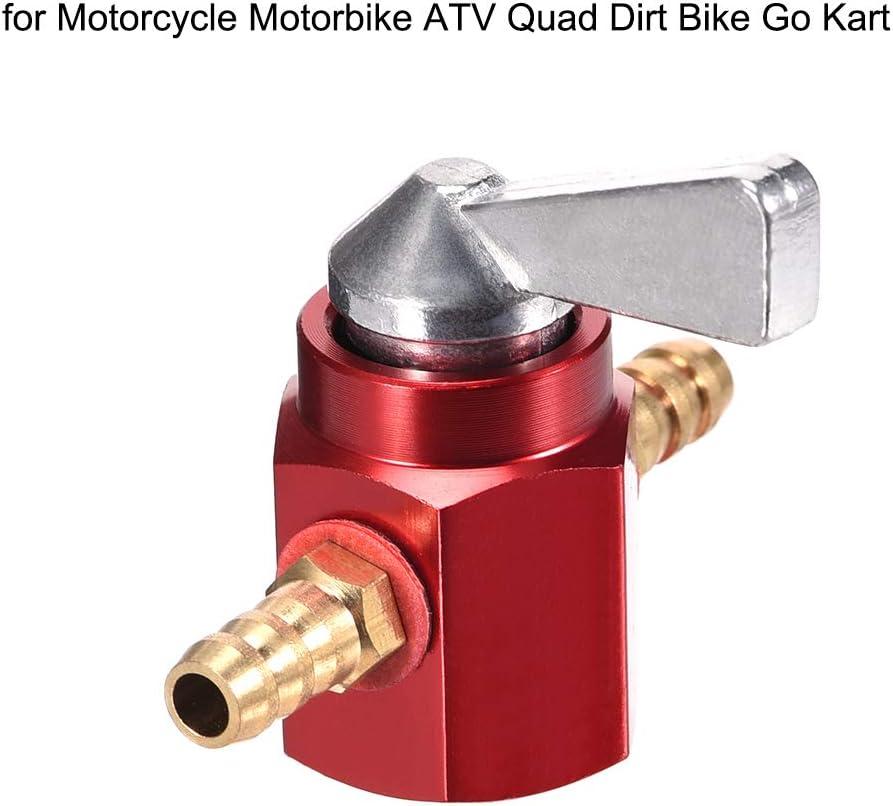 Red 6mm Motorcycle ATV Inline Petrol On-Off Gas Fuel Tap Shut Petcock Valve US