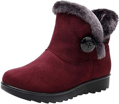 YiYLunneo Botas de Nieve Mujer Impermeable Zapatos Invierno Botines Mujeres Color SóLido Mantener CáLidos MáS Terciopelo Pnas CN 35 40