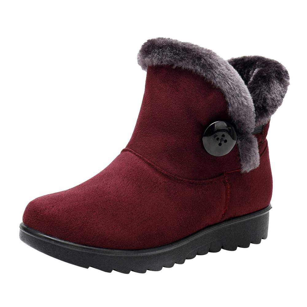 Londony ♥‿♥ Clearance Sales,Fur Lined Snow Boots for Womens Flock Winter Button Pull On 816 Ankle Booties Shoes Londony007