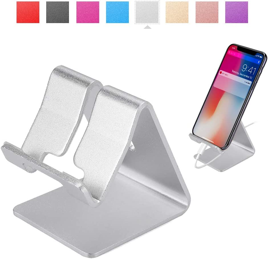 Rumfo Cell Phone Stand Universal Portable Aluminum Desktop Charger Mount Holder, Metal Tablets Dock Cradle for iPhone 11 X 8 7 6 Samsung Galaxy s10 9 All Smartphone (Silver)