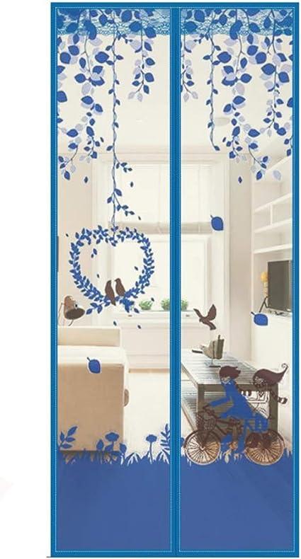 Imprimir Mosquitera magnética para puertas cortina Verano Cortina magnética Con Durable De Puerta mosquiter Completo marco Gancho Lazo Se adapta a la puerta Golpe libre-Azul 39x83