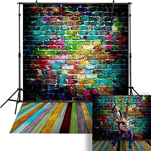 Funnytree 5x7ft Graffiti Brick Wall Colorful Wooden Floor Backdrop Photography Background for Hip Hop Party Decorations Portrait Photo Studio Photobooth Props Banner]()