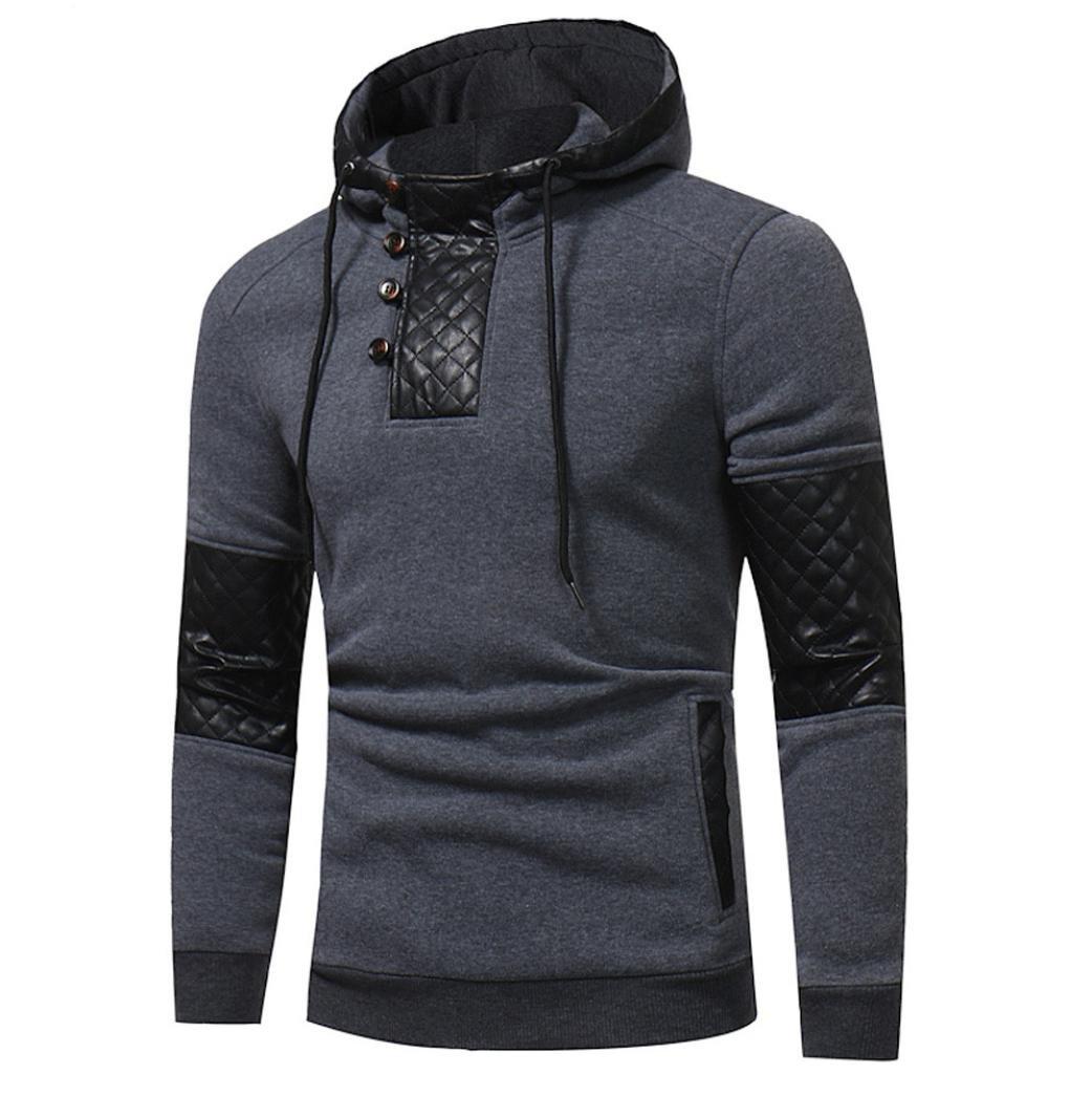 Elecenty Herren Kapuzenpullover Hoodie Sweatshirt mit Print aus hochwertiger Baumwollmischung Strickpullover Männer Kapuzenjacke mit Kapuze Tops Mantel Outwear (XXXL, Dunkelgrau) Elecenty--57