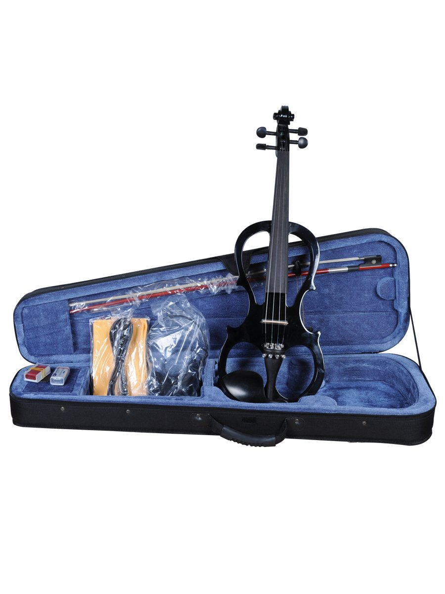 ADM EL16-BLACK 4/4 Full Size Silent Electric Violin Outfit, Black Color All Days Music Inc.