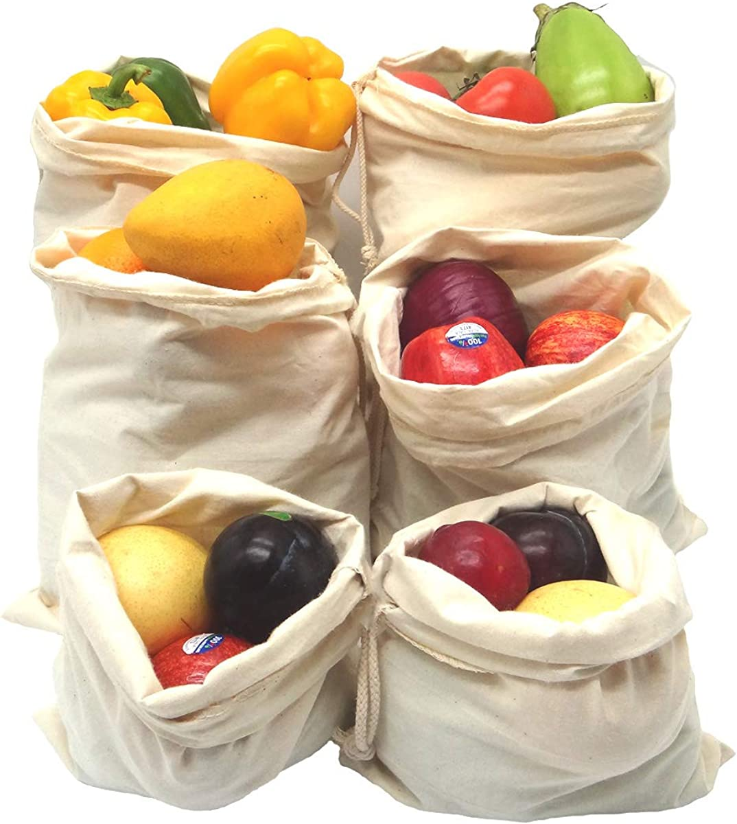 AKLVBL Packaging Bags of Textile Material, Reusable Produce Bags , Cotton Vegetable Storage Bags, Cloth Bag with Drawstring, Food Storage Bags, Canvas Bags, Portable Toy Storage Bag