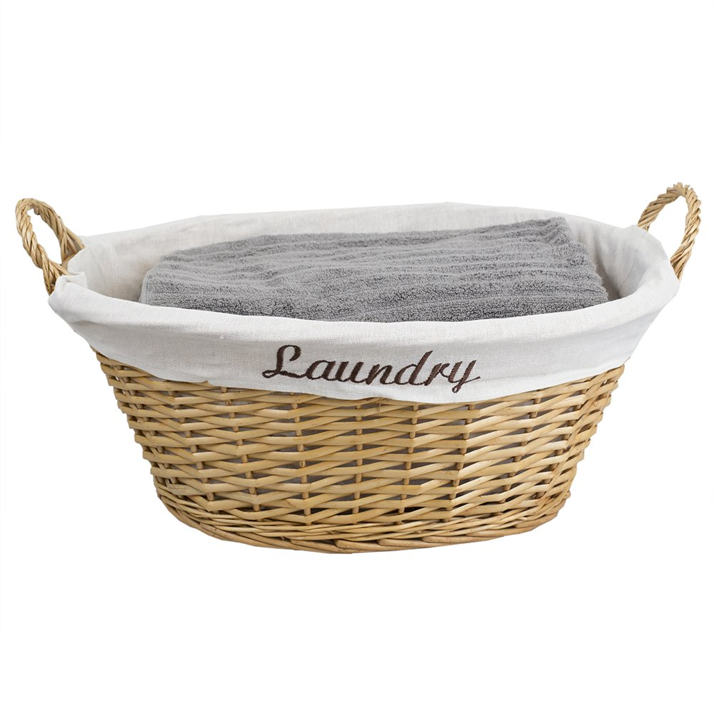 Home Basics Wicker Laundry Basket (Natural)