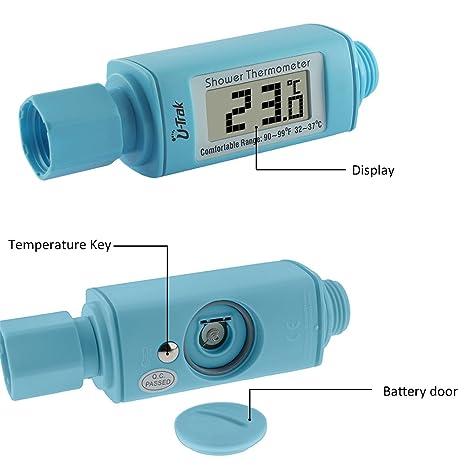 LED-digitales Duschthermometer Echtzeit-Wassertemperatur-Monitor f/ür Babykinder f/ür Erwachsene f/ür wasserdichten LED-Bildschirm,White