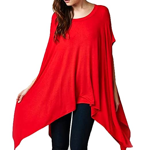 abc93aa32af3b2 Womens Oversized Asymmetrical Feminine Short Sleeve Tunic Poncho Cape  Blouse Top Shirt at Amazon Women s Clothing store