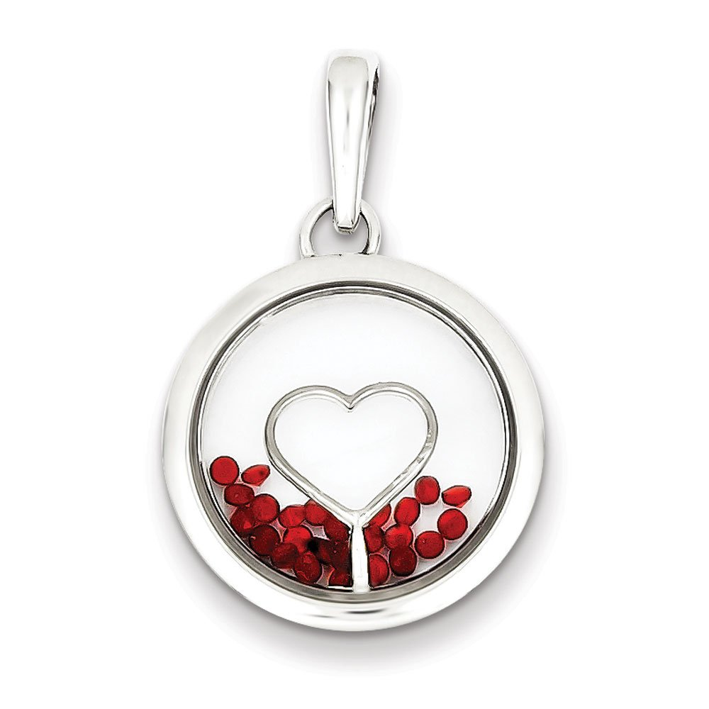 .925 Sterling Silver Heart and Floating Glass Beads Charm Pendant