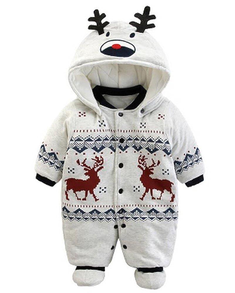 Minetom Bambino Ragazze Ragazzi Inverno Pagliaccetti Neonato Addensare Bimba Bimbo Carino Cartone Animato Animale Tute di Neve QL170831GR-DE01