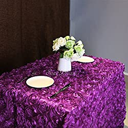 "SoarDream Rosette Tablecloth 50""x102"" Purple,3D Floral Tablecloth Satin Rosette Tablecloths Table Cover Linens For Wedding/Party"