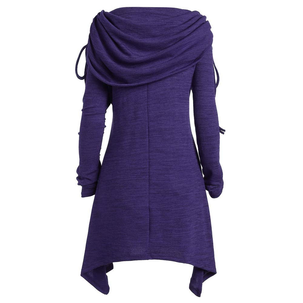 GOVOW Autumn Long Sleeve Womens Casual Fashion Solid Ruched Long Foldover Collar Tunic Blouse Tops(US:8/CN:XL,Purple) by GOVOW (Image #3)