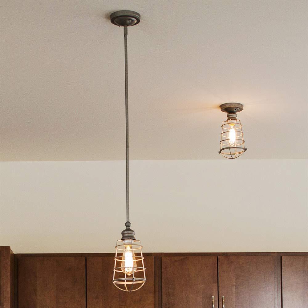 Design House 519686 Ajax 1 Light Semi Flush Mount Ceiling Light Galvanized Steel Finish Design House drop ship