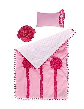 WeGirls Ropa de cama ideal para la cuna de muñeca, Tamaños: Colcha: 33x51cm, Cojín 10 x 15 cm + 3: Amazon.es: Juguetes y juegos