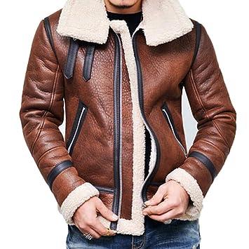caidi Hombre Otoño Invierno Lujo Piel Forro cálido Abrigo Lining Cachemira Chaqueta de Motociclismo Mens Leather Jacket Blousons, Color marrón 3XL: ...