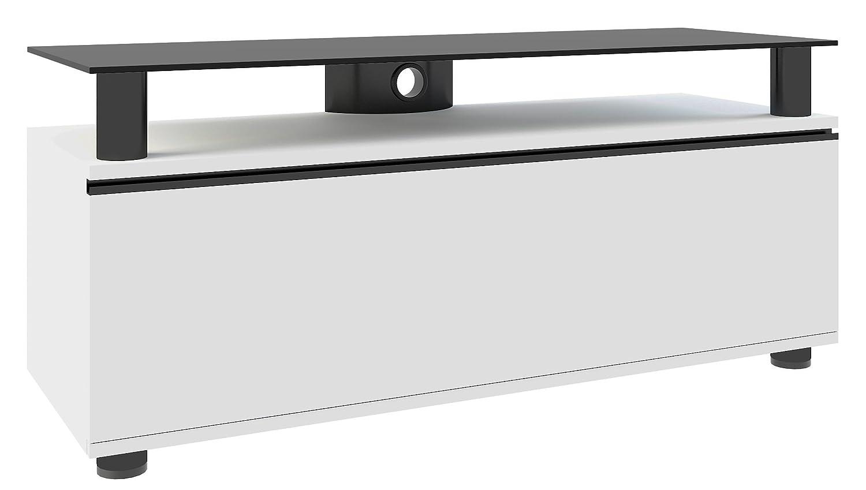 Vcm 14240 Clano Meuble Tv Avec Porte Pliante Roulettes Incluses  # Meuble Tv Noir A Roulette