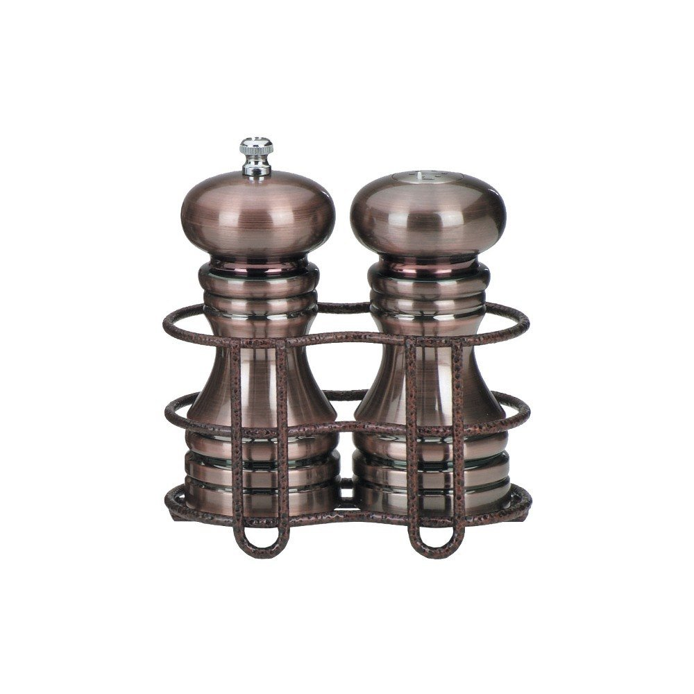 Chef Specialties 5 Inch Burnished Copper Pepper Mill and Salt Shaker with Rack by Chef Specialties