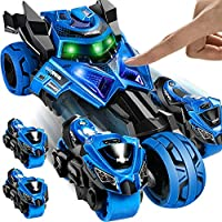 Geyiie Pull Back Vehicle, Racing Car Mini vechile Toys with Catapult Motorcycles,Pre-Kindergarten Toys for Toddlers Children Party Favors Birthday, LED Lights Sounds