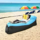 Gameit Inflatable Lounger Air Sofa Portable Air Bed WaterProof & Anti-Air Leaking Air Couch for Backyard Lakeside Beach Traveling Camping Picnics Music Festivals (Blue&Black)