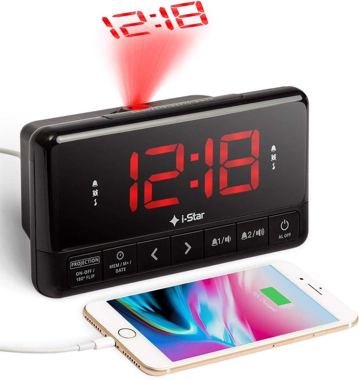 Despertador Proyector, Radio Reloj Despertador de Proyección Digital con Cargador USB, FM Radio, Pantalla LED Digital, Función Snooze