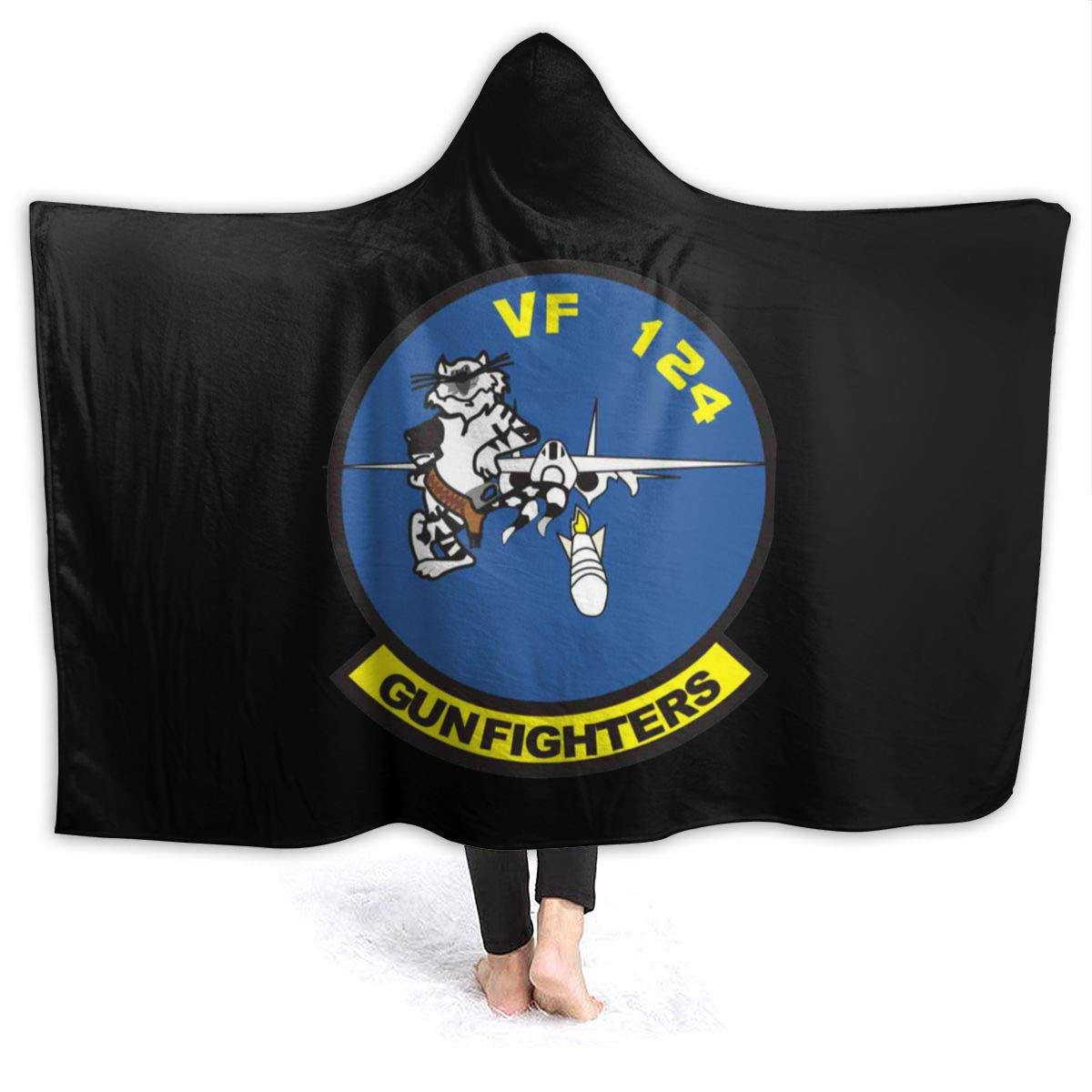 FransisUU US Navy VF-124 Gunfighters Squadron Hooded Blanket, Soft Throw Wrap Wearable Blankets Novelty Cape for Kids Adults Teens by FransisUU