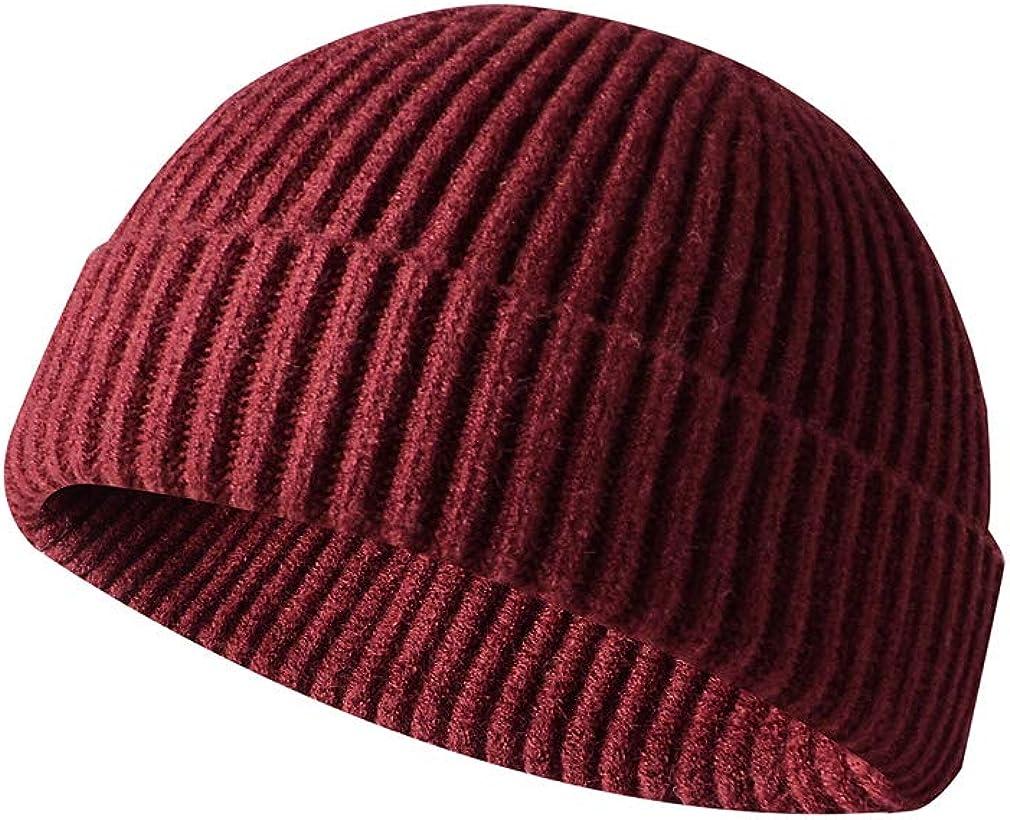 Deolover Men Knitted Hat Beanie Skullcap Sailor Cap Cuff Brimless Retro Navy Fashion Warm