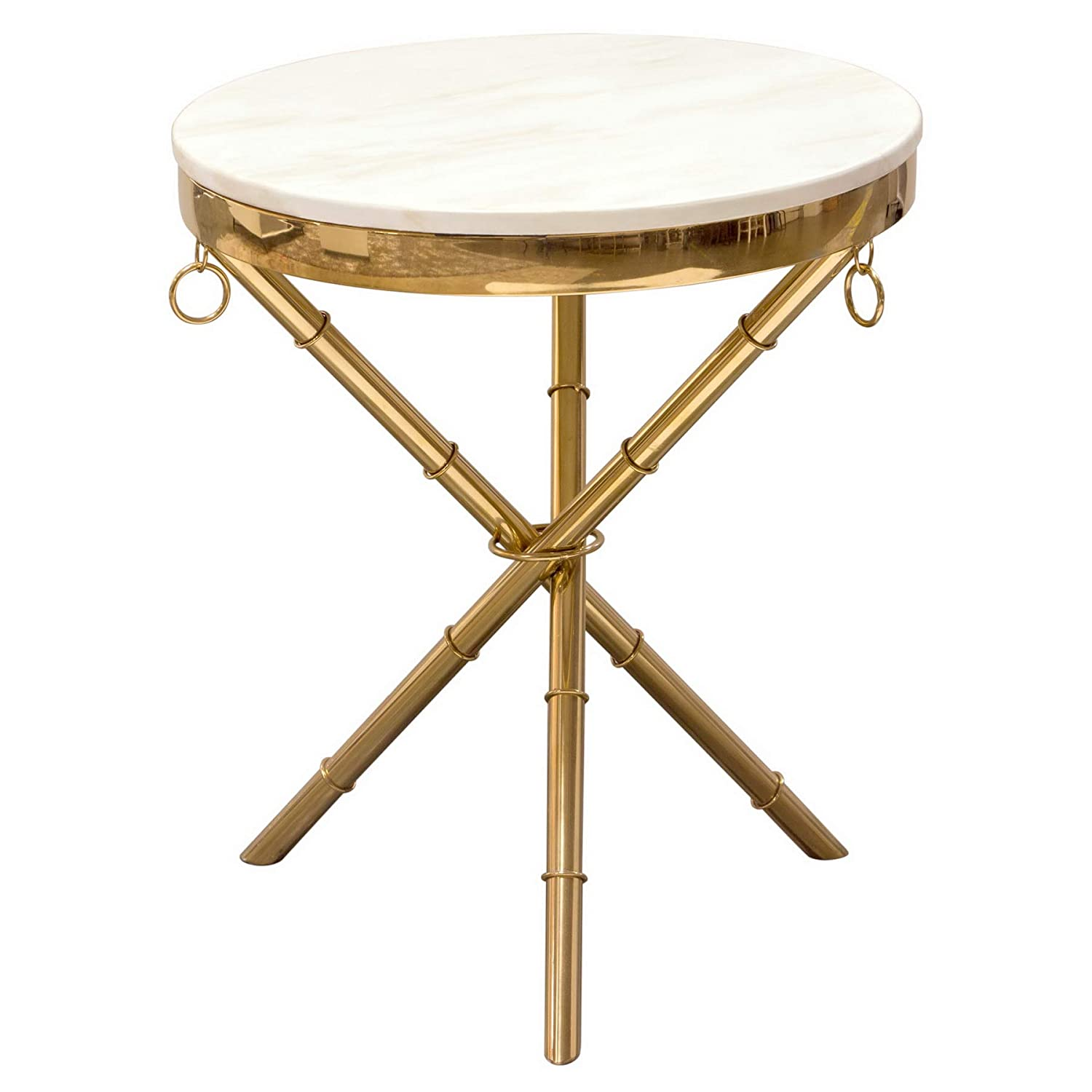 Amazon Com Diamond Sofa Reed Round Marble Top Accent Table Kitchen