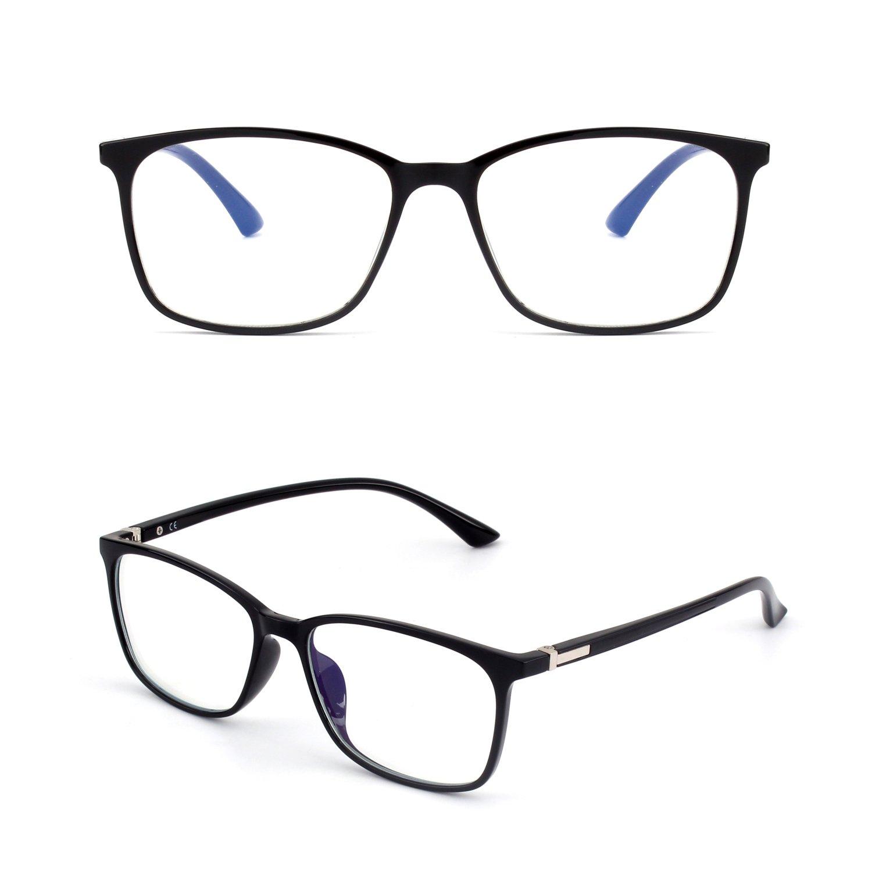 GQUEEN Gafas Que bloquean la luz Azul de la computadora y para Jugar Duerme Mejor Antirreflejantes y No cansan los Ojos Lentes Unisex de armaz/ón Transparente y Rectangular TR90 Unisex GQ318