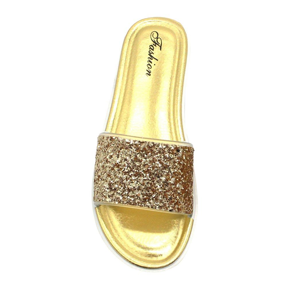 Yuncai Estate Donna Moda Splendente Piatto Pantofole da Spiaggia Non-Slip Open Toe Sandali da Doccia Oro