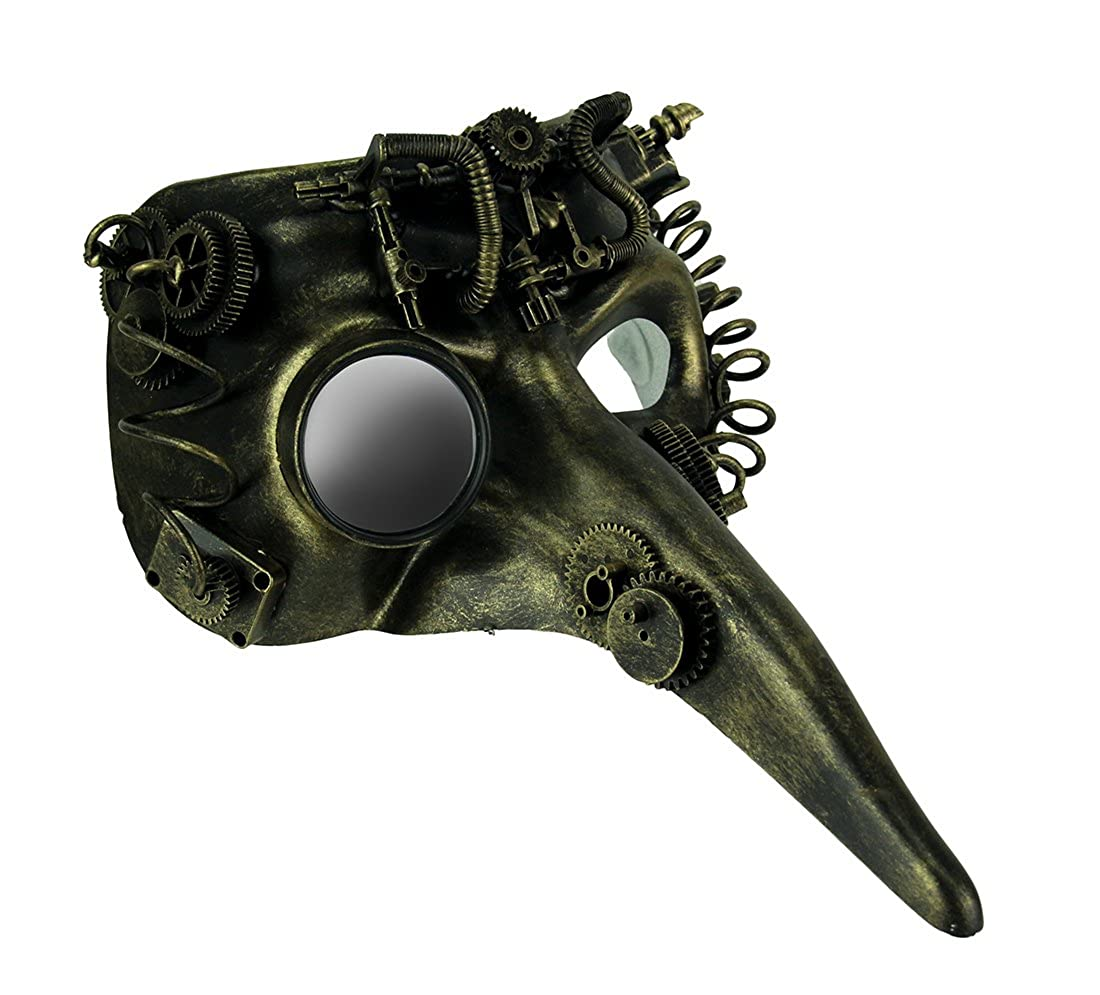 Steamzanni Metallic gold Long Nose Steampunk Adult Costume Mask