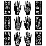 Beautiful Body Art Temporary Tattoo Stencils for Henna Tattoos (12 Sheets) Self-Adhesive Templates, Henna, Flower, Butterfly Designs