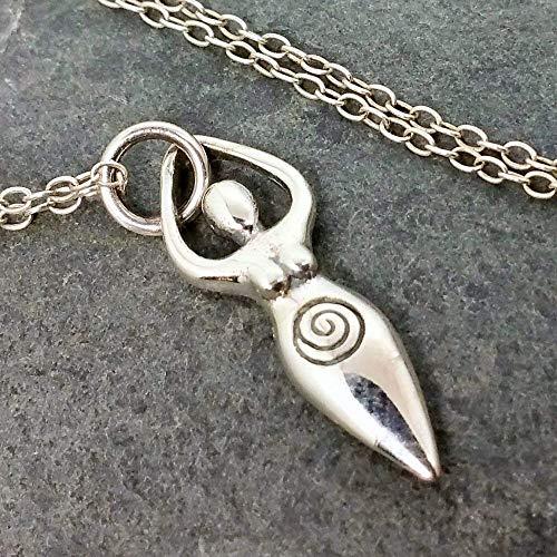 Fertility Goddess Charm Necklace - 925 Sterling Silver, 18