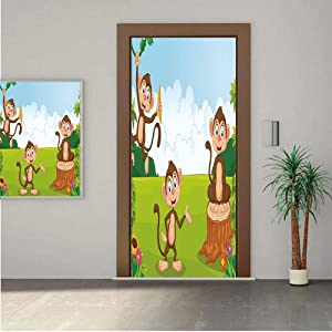 """Nursery ONE Piece Door Stickers,Three Monkeys Playing in a Tropical Forest Banana Africa Safari Nature Decorative 32x80"""" Peel & Stick Removable Wall Mural,Decal,Poster for Door/Wall/Fridge Home Decor"""