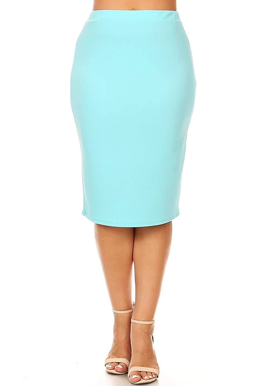 81adc95179 Women's Plus Size Solid Casual Knee Length High Waist Pencil Skirt/Made in  USA at Amazon Women's Clothing store: