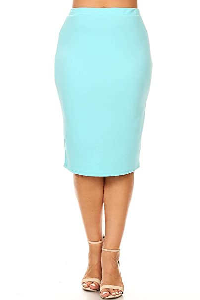 db006bdc70 Solid Casual Sexy Knee Length High Waist Pencil Skirt/Made in USA Aqua XL