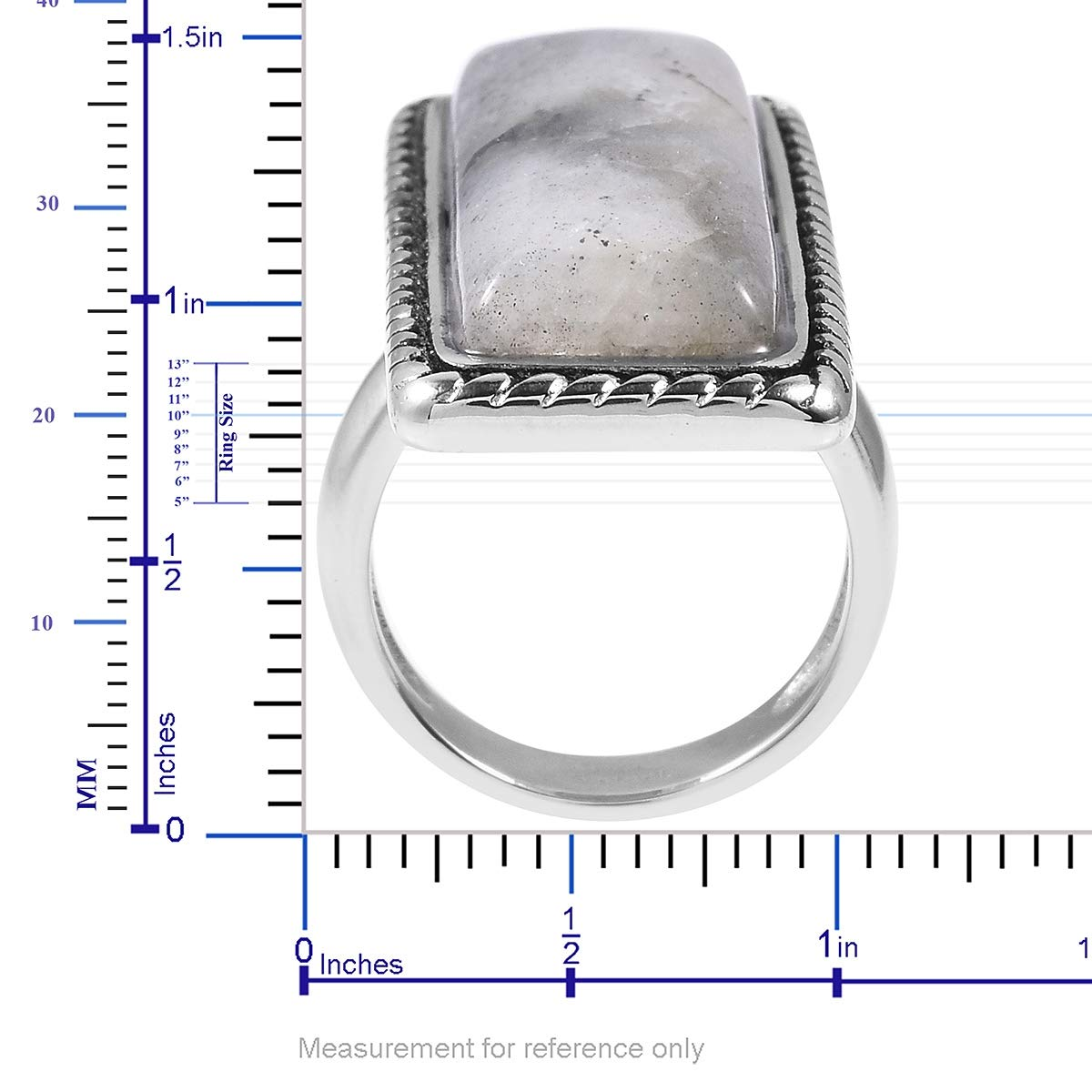 Shop LC Delivering Joy Cocktail Ring Stainless Steel Baguette Labradorite Gift Jewelry for Women Size 7
