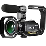 Rakuby ビデオカメラ デジタルビデオカメラ ORDRO AC3 4K WiFi DV レコーダー 24MP 30Xズーム IRナイトビジョン 3.1インチIPS LCDタッチスクリーン 2個電池+エクストラ0.39X広角レンズ +外部マイク+レンズ フード+カメラホルダー