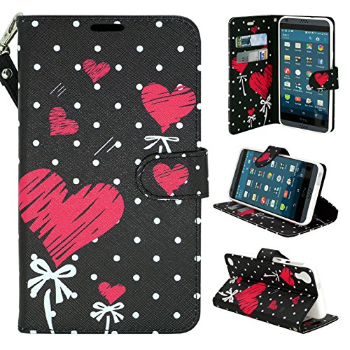HTC Desire 630 Case, HTC Desire 530 Case - Customerfirst - Wallet Flip Fold Pouch Cover Premium Leather Wallet Flip Case for HTC Desire 630 / 530 FREE Emoji Key Chain and stylus (Broken Heart)