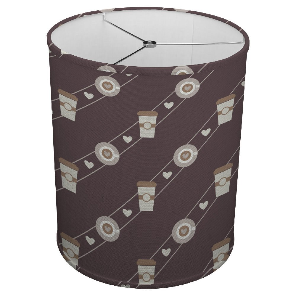 Hardback Linen Drum Cylinder Lamp Shade 8'' x 8'' x 8'' Spider Construction [ Coffee Cup Heart Love ]