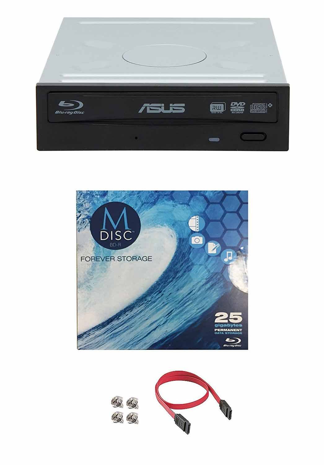 Cable Accessories and Mounting Screws Supports BDXL and M-DISC, Retail Box Asus 16x BW-16D1HT Internal Blu-Ray Burner Drive Bundle with 1 Pack M-DISC BD