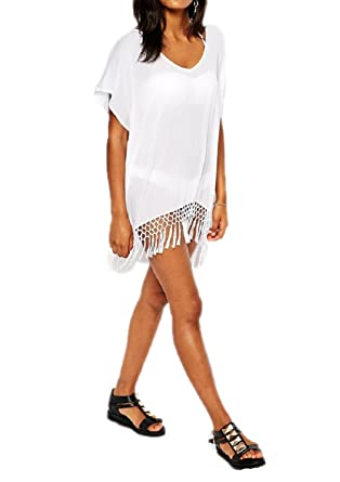 39e1e0c090 Image Unavailable. Image not available for. Color: JJ-GOGO Short Kimono  Sleeve Sexy Crochet Fringe Beach Kaftan