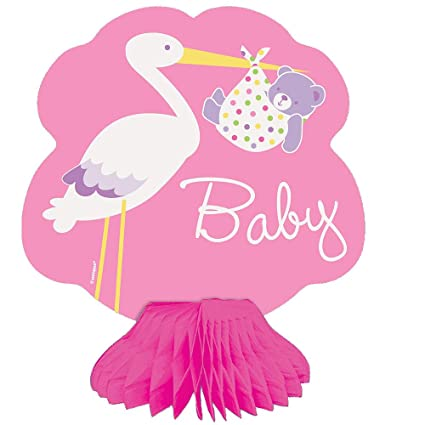 Amazoncom 6 Mini Pink Stork Girl Baby Shower Centerpiece