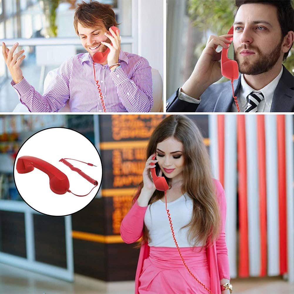 BovoYa Retro Anti-Radiation Telephone Handset Classic Hands-Free Microphone Call Receiver 3.5 mm for iPhone//Smartphones purple Purple one size