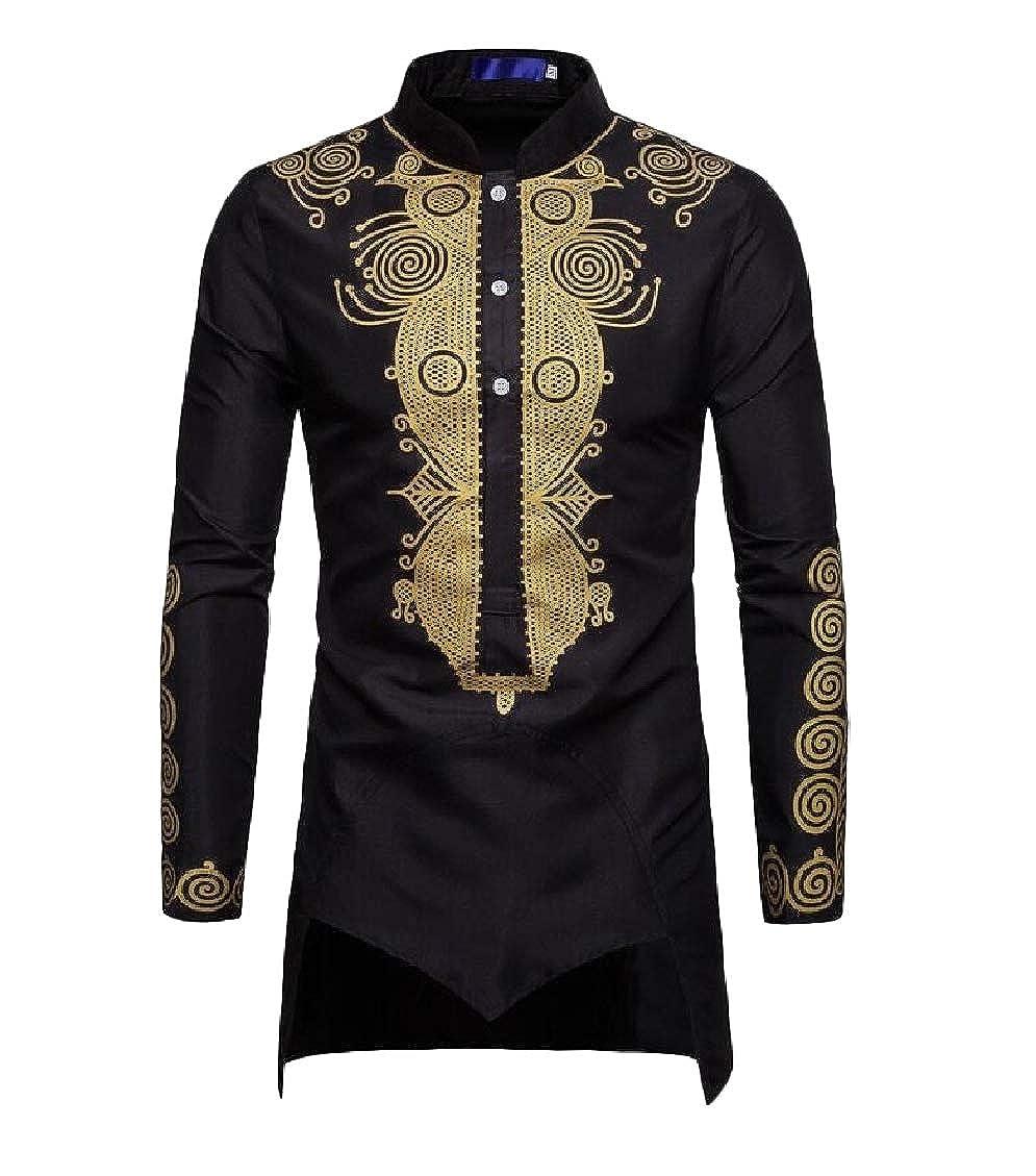 Pluszing Mens Top Long Sleeve Africa Irregular Print Shirts