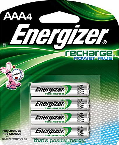 Energizer EVENH12BP4 Recharge Power Plus AAA 700 mAh Rechargeable Batteries, Pre-Charged - 4 Count