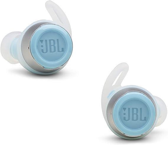 JBL REFLECT FLOW - Auriculares inalámbricos intraaurales deportivos, con Bluetooth y tecnologías TalkThru y AmbientAware, hasta 20h de música, Blanco y azul turquesa