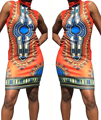 Print Clothing African - shekiss Women Traditional African Print Dashiki Bodycon Sleeveless High Collar Dress Orange