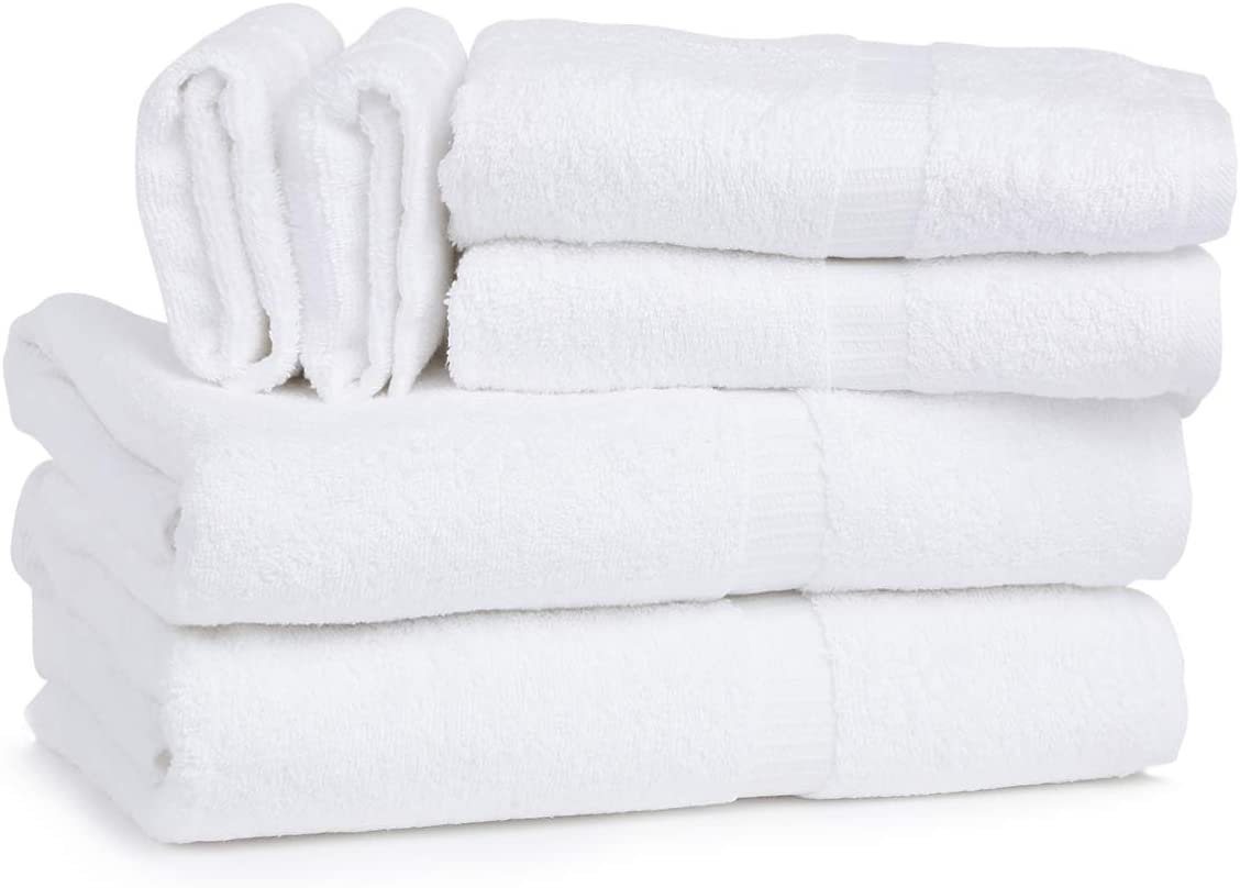 The Essential Goods - 100% Cotton Towel Collection | Set of 6 | Super Soft & Durable | Machine Washable & Absorbent | Perfect for Home Use | Made in India - 600 GSM (White)