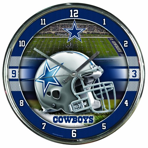 Nfl Football Team Chrome Wall Clock , Dallas Cowboys , 12-Inch (Dallas Cowboys Alarm)