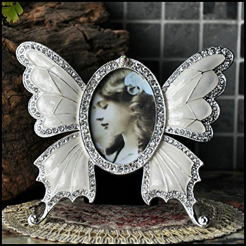 - ChezMax Rhinestone Decorated Ellipse Butterfly Design Vintage Metal Photo Frame Home Decor Desktop Picture Frame Table Top Frame White 3